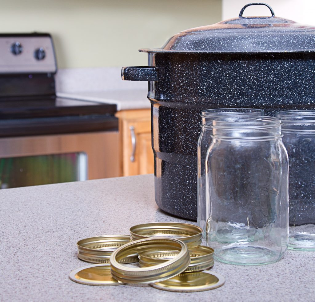 canning jars and pot