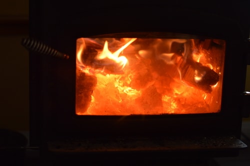 fire in the woodstove