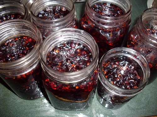 Jam jars ready for processing with a boiling water bath