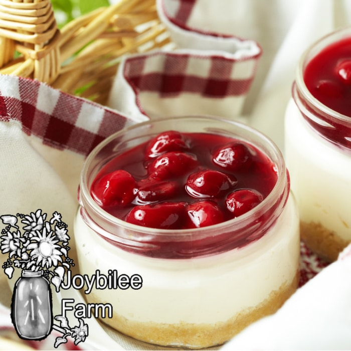 cherry topped cheesecake in a jar. Make it vegan cheesecake with this recipe.