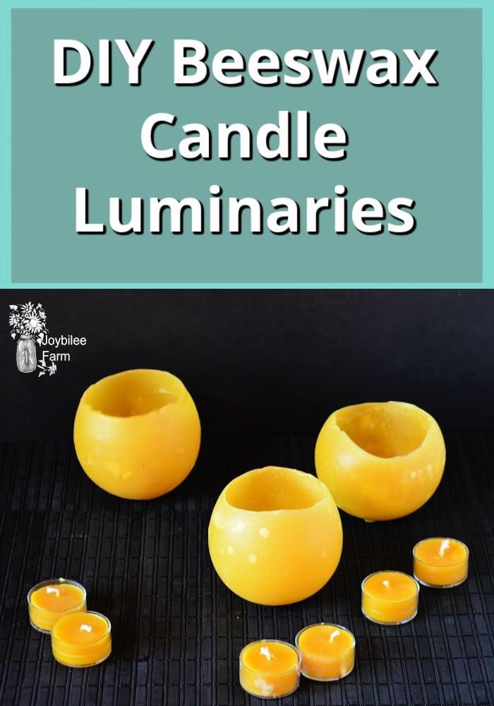 Homemade beeswax luminaries