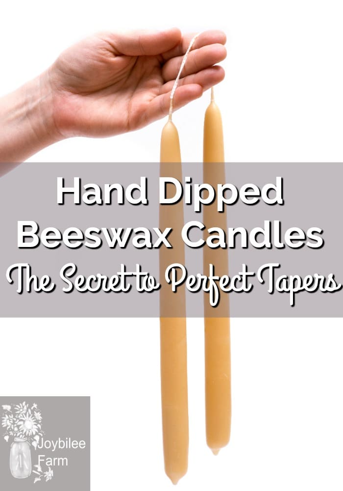 A hand holding two beeswax taper candles