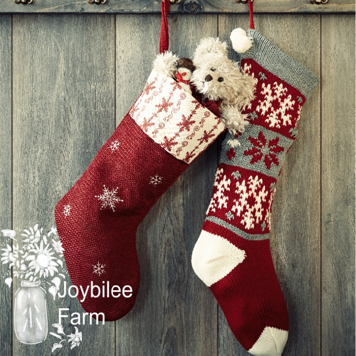 Pair of Christmas stockings hanging from hooks