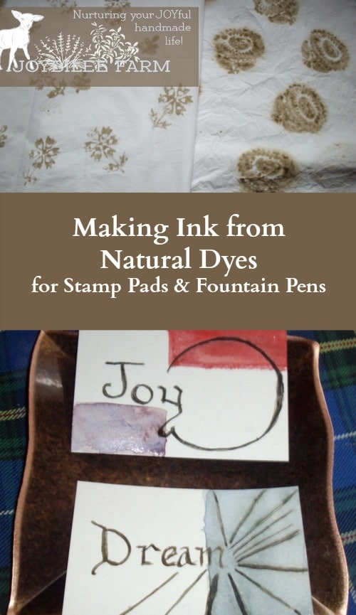 Walnut ink for printing needs to be viscose enough so that it doesn't drip when applied to the stamp. It needs to be smooth and consistent so that it leaves a clear impression without blobs of ink. Walnut ink for printing is permanent after 48 hours and can be washed in water without fading. The impression is clearer when stamped on dry fabric but the dye penetrates better when stamped on wet fabric. No previous preparation of the fabric is necessary before stamping except to scour it thoroughly in preparation for dyeing.