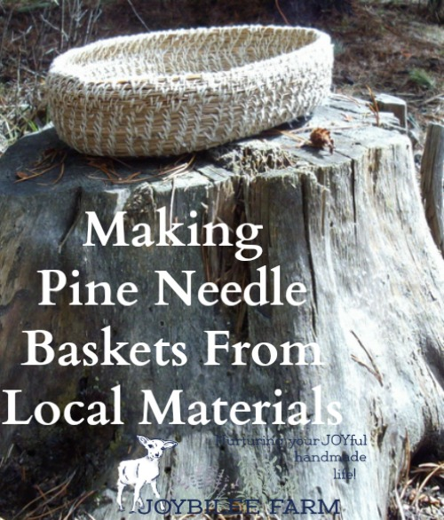 Making pine needle baskets from local materials small