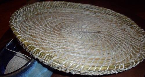 pine needle basket progress