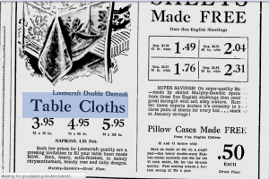 Loomcraft Irish Linen Ad 1939