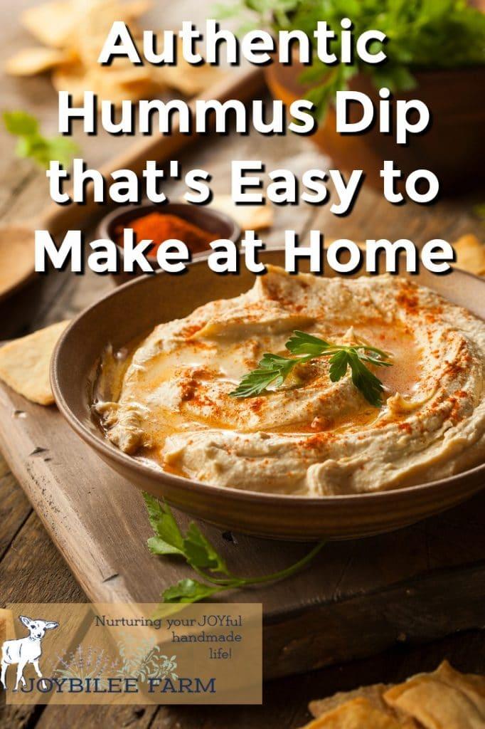 A bowl of homemade hummus dip