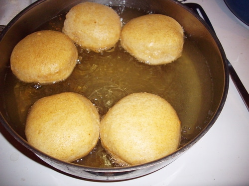 Jelly doughnuts deep frying