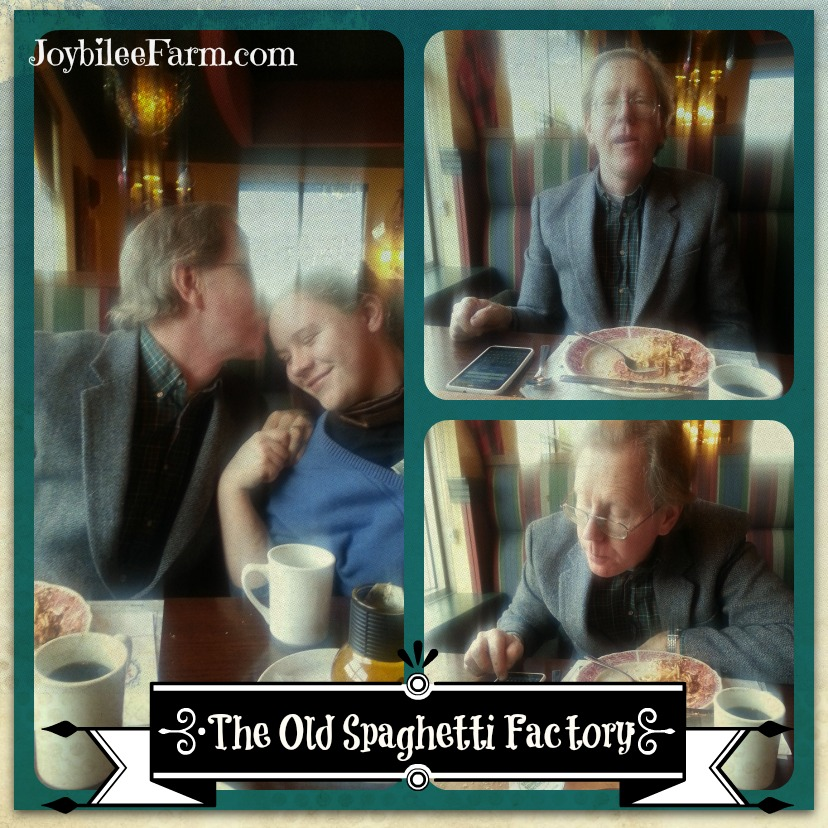 Photo collage of dinner at The Old Spaghetti Factory