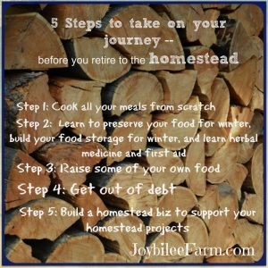 Stacked firewood with 5 steps overlaid for homesteading
