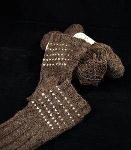 yarn and fingerless gloves