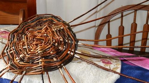 Basket weaving - Willow basket making - Staking up 2