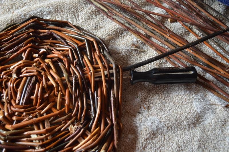 Basket weaving - Willow basket making in progress - upset stakes 1