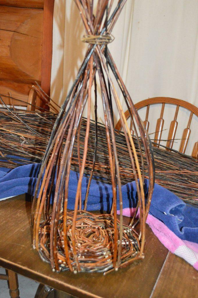 Willow basket making in progress