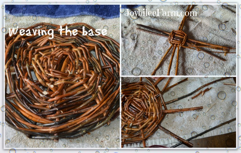 weaving the base portion of basket weaving