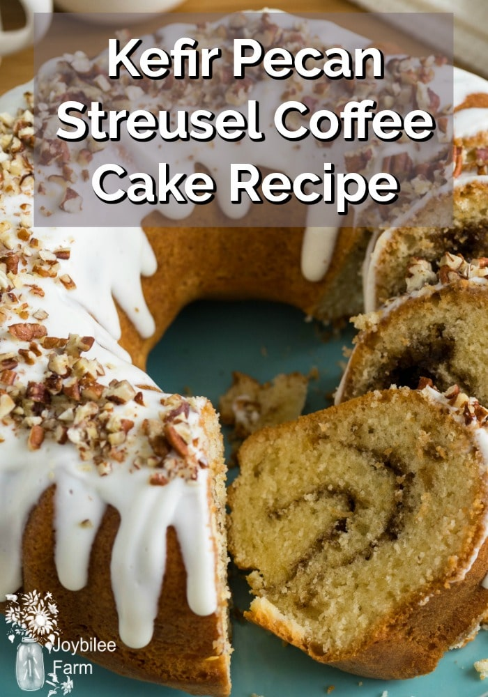 Kefir Pecan Streusel Coffee Cake cut to show the streusel swirl inside.