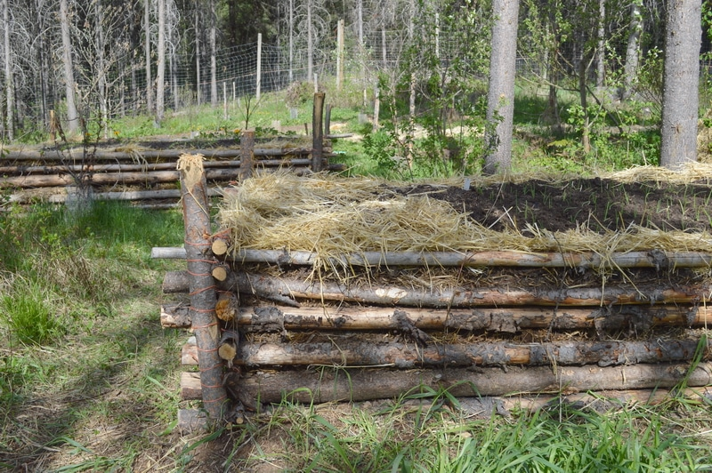 A raised garden bed made from small logs