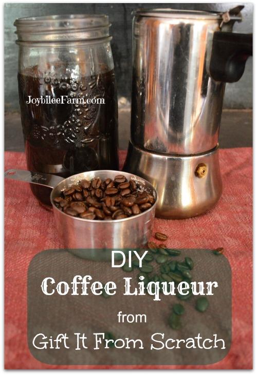 Coffee beans, coffee liqueur in a mason jar and a coffee pot