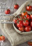 Cherry tomatoes in a bowl on a wooden counter and burlap