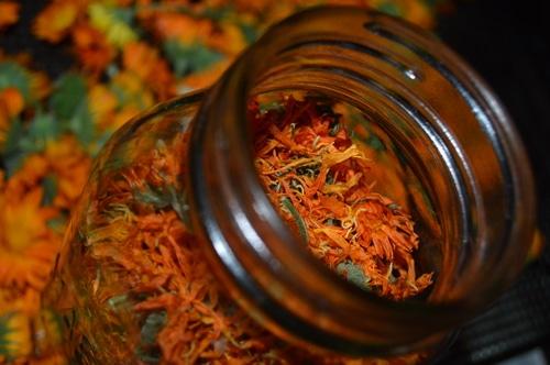 Dried calendula flowers in a mason jar