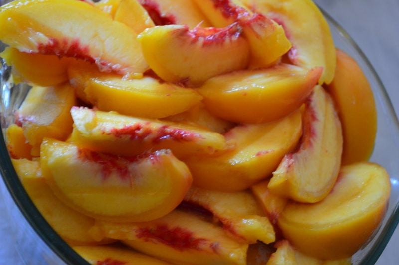 Fresh sliced peaches