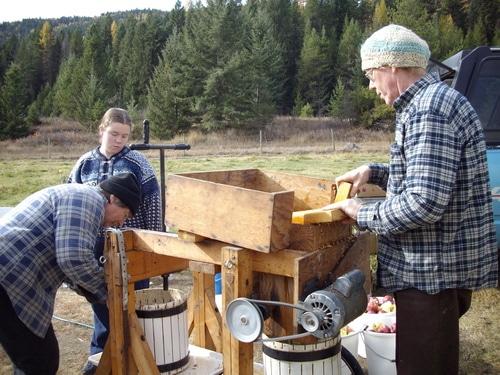 An apple cider press