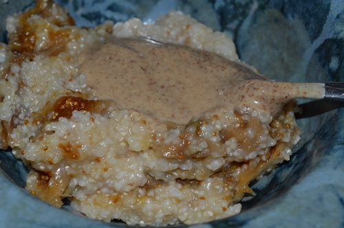 Gluten free cereal with figs and almond butter