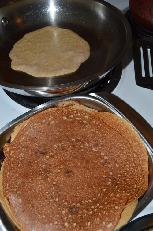 How to make crepes -- Cheese Blintzes with fig-goji berry sauce -- Joybilee Farm