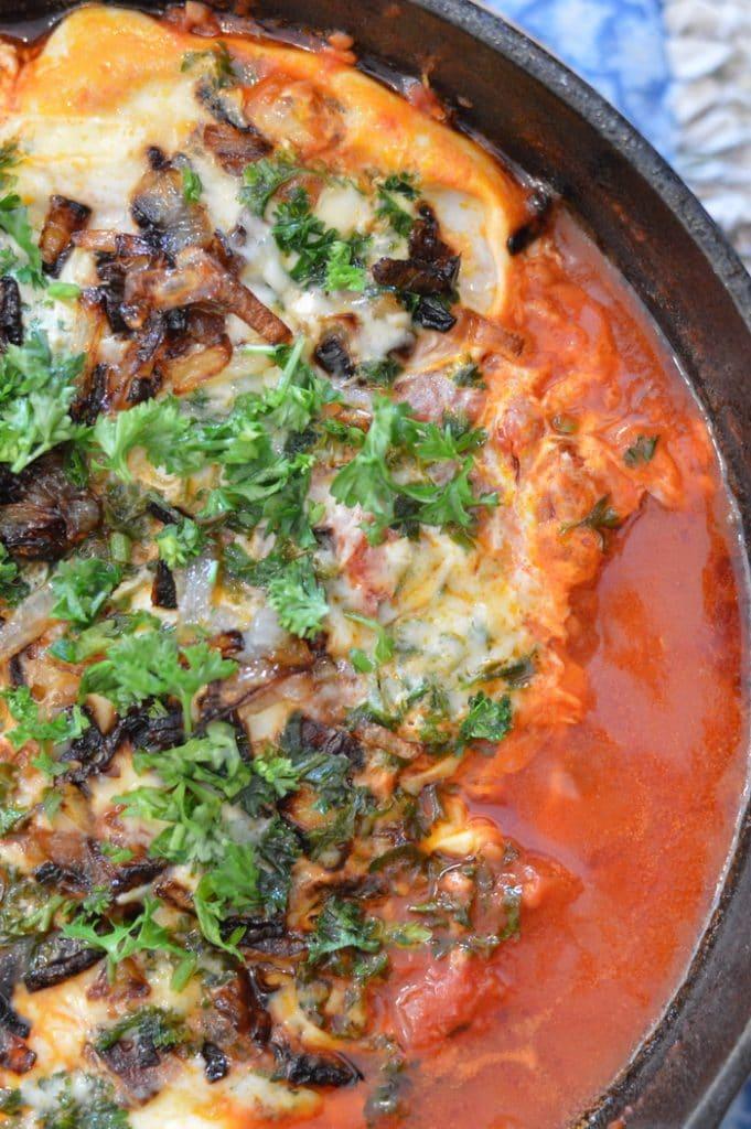 Shakshuka with mushrooms