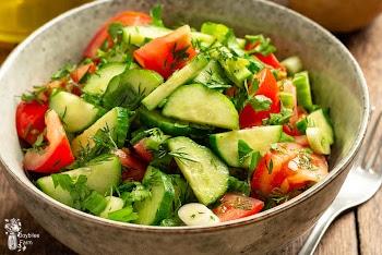 Israeli Salad Recipe with Fresh Lemon-Mint Dressing