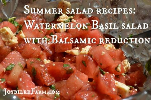 Summer salad recipes Watermelon Basil salad with Balsamic reduction