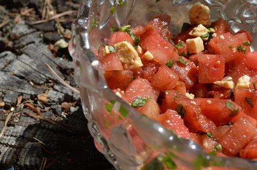 Summer salad recipes: Watermelon Basil salad with Balsamic reduction -- Joybilee Farm