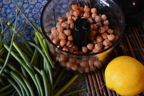 Hummus ingredients - chickpeas, lemon, garlic scapes