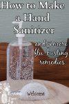 A bottle of hand sanitizer on a dresser