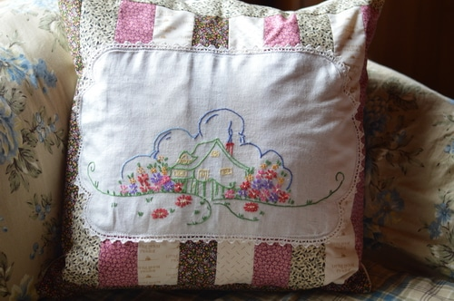 Little House on the Prairie patchwork pillow