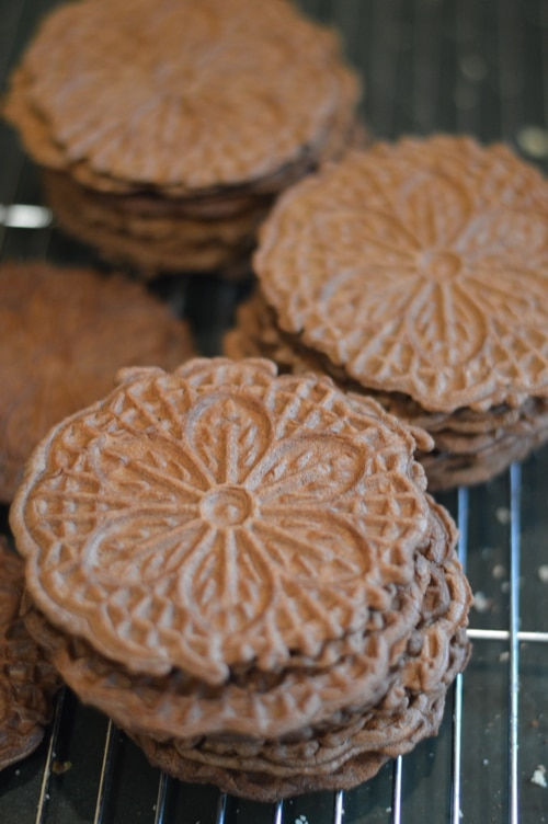 While pizzelles are a traditional Christmas cookie and chocolate mint flavour is traditionally associated with Christmas, these Chocolate Mint Pizzelles are unique and non-traditional. Put your pizzelle iron to work on this easy to make sweet wafer. Then enjoy it with a homemade espresso, mocha, latte, or macchiato.