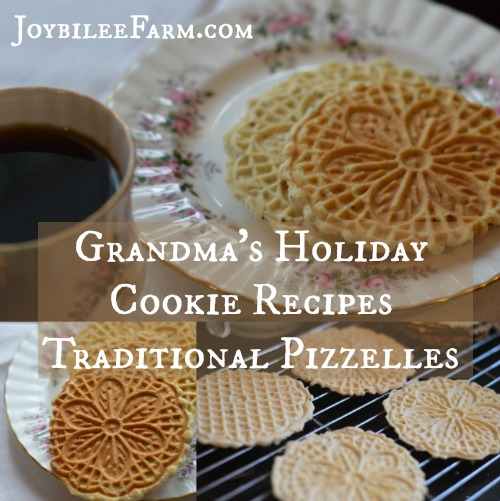 Traditional pizzelles are light, flavourful, and satisfying with a faint flavour of anise seed. The anise seed is a digestive aid. Anise is an aromatic, carminative herb. It eases cramping in the intestines, relieves gas and bloating, and reduces gut inflammation. It's just what's needed after a heavy meal. So heat up your pizzelle iron and make a batch of these traditional holiday cookies for a light finish to your holiday meals. -- Joybilee Farm