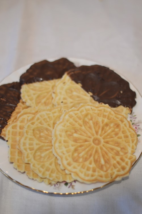 Rose flavoured pizzelle cookies