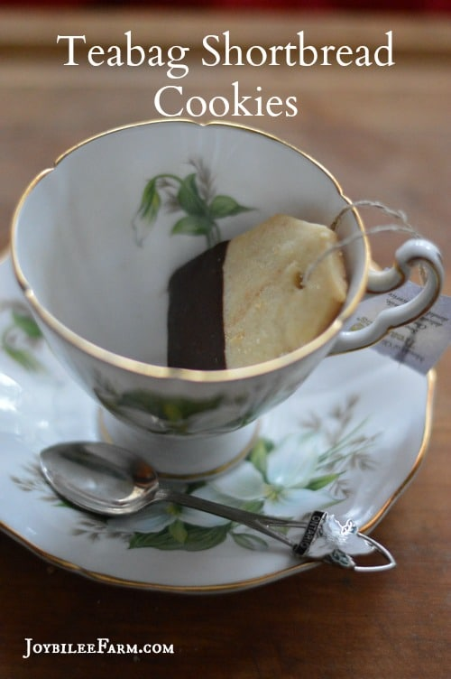 These tea bag shortbread cookies are just a little more finicky to make than regular shortbread. But I promise you the effect is worth the effort. If you are making these for a gift, find a vintage tea tin to present them, or create a tea bag box. Use your imagination to make this awesome. It's a priceless gift for less than the cost of a cuppa at Starbucks. These would also be perfect for Grandma's tea party when your precious grand daughters come for a visit. So don't just make them at Christmas. Think Valentines, Mother's Day Tea, Birthday, or anytime that it's afternoon tea party time.