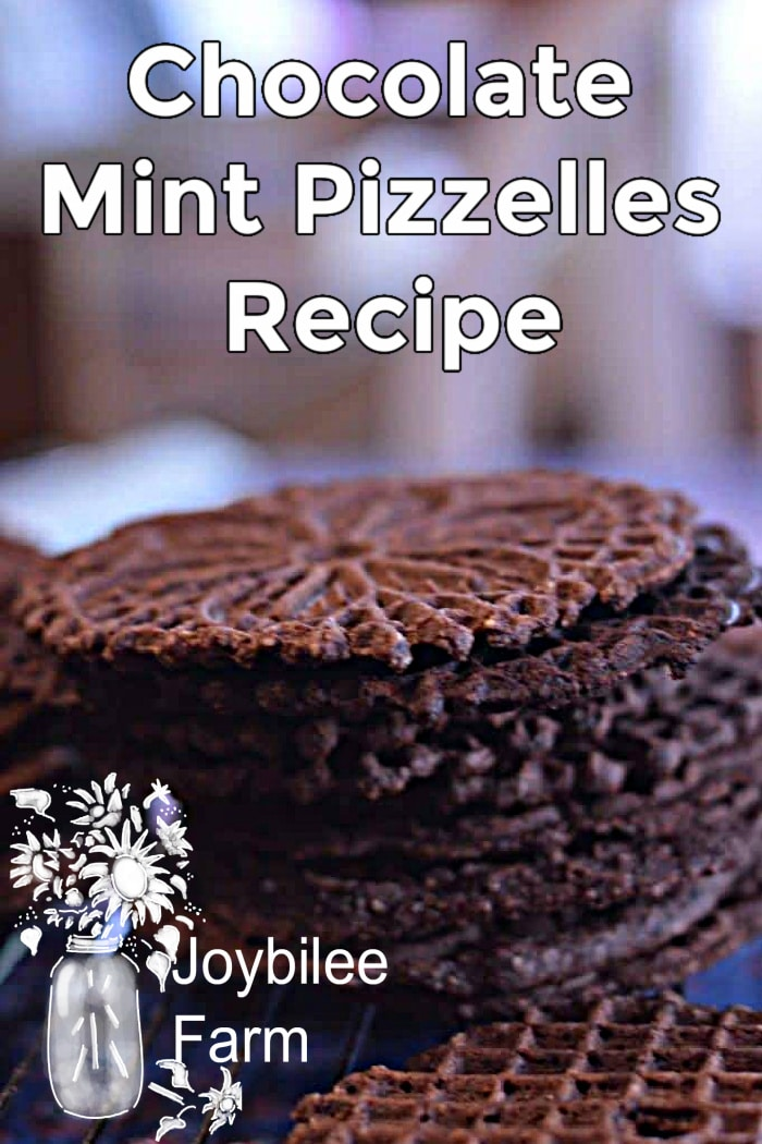 chocolate mint pizzelles on a cooling rack