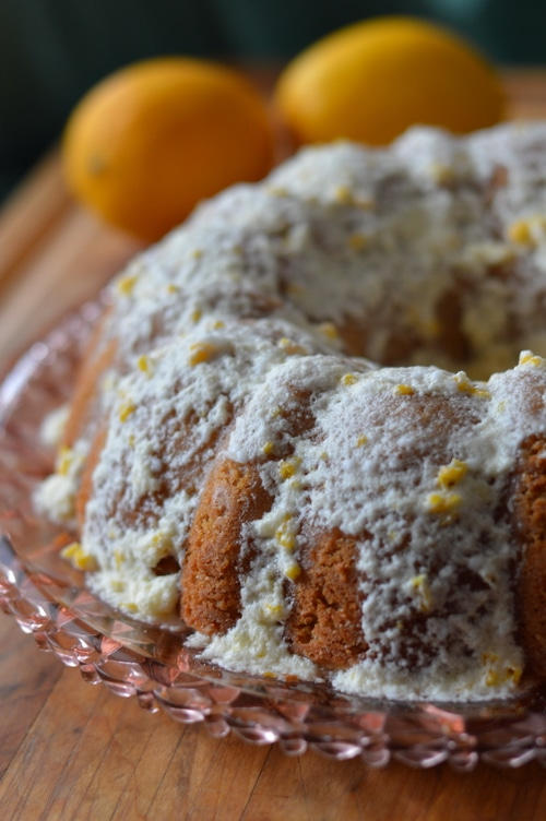 """This meyer lemon bundt cake uses just two of these fragrant and juicy fruits. If you only have access to regular lemons, you'll need 3 to equal the amount of zest and juice in this recipe that two meyer lemons have. This is lovely for a light, refreshing tea cake. Plate it with a pretty vintage plate from the thrift store and share it with a neighbor. Tell them you don't need the plate back, and they can """"pay it forward"""". Start a happy neighborhood trend and build your community up. Here's the recipe. I hope you enjoy it."""