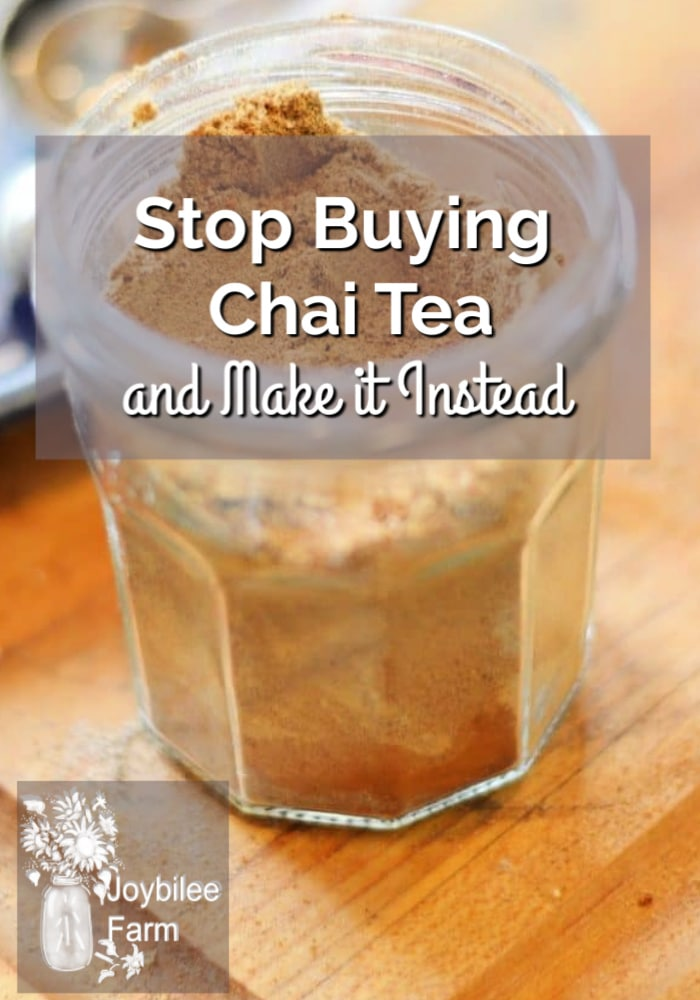 a glass cup filled with DIY chai tea blend