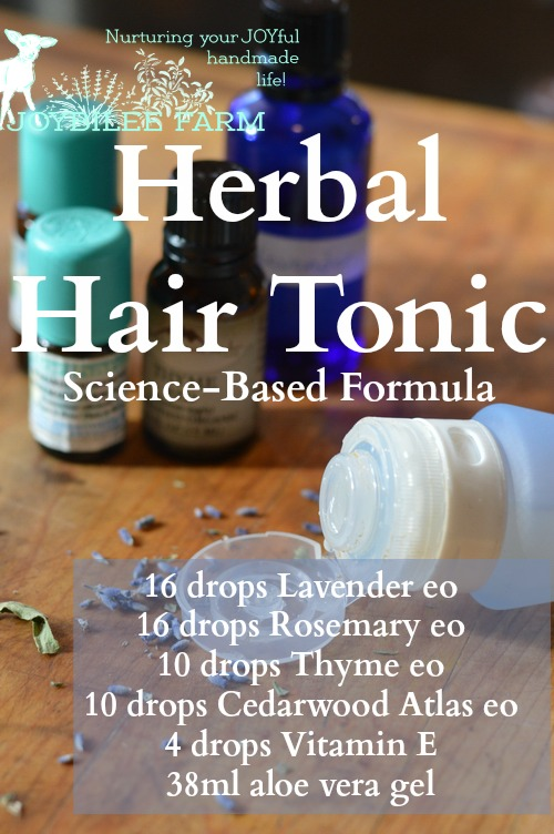 """In this Scottish study the essential oils were used with carrier oils. Patients self-administered the herbal hair loss treatment, massaging the essential oil treatment into the scalp for a minimum of 2 minutes. """"The active group received the essential oils: Thyme vulgaris (2 drops, 88 mg), Lavandula agustifolia (3 drops, 108 mg), Rosmarinus officinalis (3 drops, 114 mg), and Cedrus atlantica (2 drops, 94 mg). These oils were mixed in a carrier oil, which was a combination of jojoba, 3 mL, and grapeseed, 20 mL, oils.""""[2] Then they wrapped their heads in a warm towel to increase circulation to the scalp. In this double blind study, 44% of those treated with the essential oils saw improvement in hair regrowth over a 7 month period."""