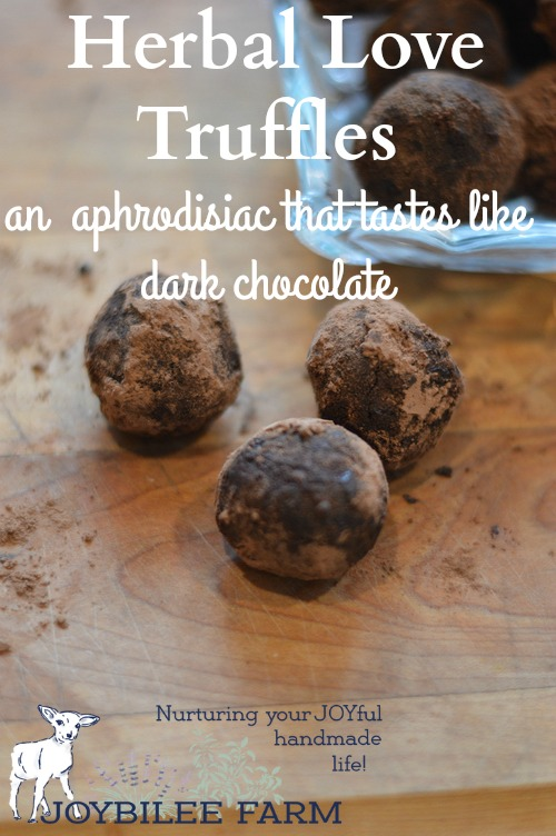 These are chocolate truffles with adaptogen, carminative, and antioxidant herbs to promote relaxation and adrenal health. The recipe makes about 48 -- 1 inch truffles.
