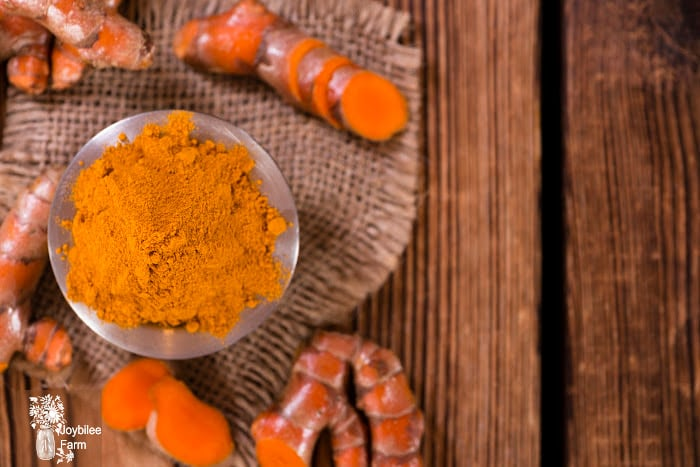 Fresh and powdered turmeric on a wooden background