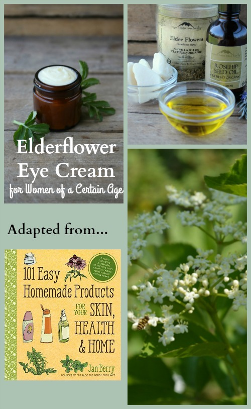 photo collage of elderflower, a jar of elderflower eye cream, cream ingredients and book cover.