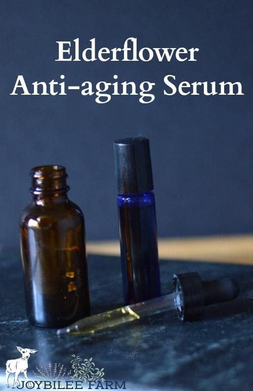 Elderflower serum in a dropper bottle, and in a roller bottle on a blue background