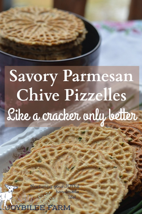 Salty savory pizzelle crackers with chives and parmesan