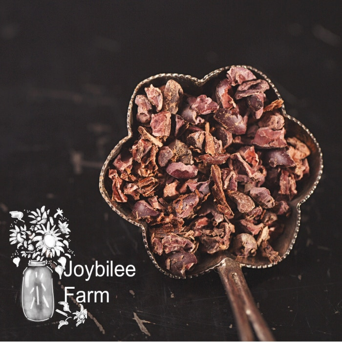 chocolate nibs in a pan on a dark background